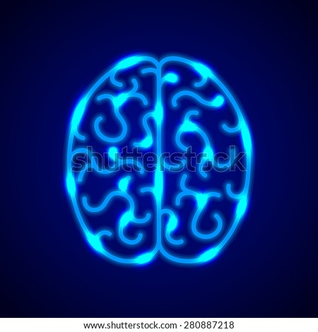 Brain from blue neon lines photo realistic vector background - stock vector