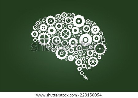 Brain Gears And Cogs On Green Chalkboard - stock vector