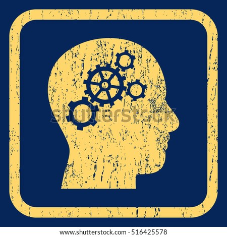 Brain Gears rubber seal stamp watermark. Icon symbol inside rounded rectangular frame with grunge design and scratched texture. Unclean vector yellow ink sign on a blue background.