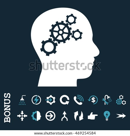 Brain Gears vector bicolor icon. Image style is a flat pictogram symbol, blue and white colors, dark blue background.
