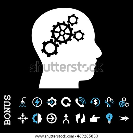Brain Gears vector bicolor icon. Image style is a flat pictogram symbol, blue and white colors, black background.
