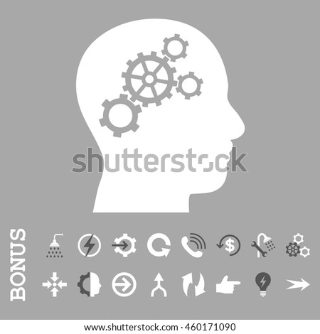 Brain Gears vector bicolor icon. Image style is a flat pictogram symbol, dark gray and white colors, silver background.