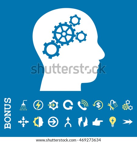 Brain Gears vector bicolor icon. Image style is a flat pictogram symbol, yellow and white colors, blue background.