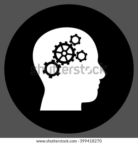 Brain Gears vector icon. Image style is a flat icon symbol on a round button, black and white colors, gray background.