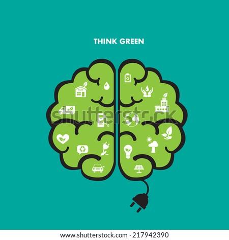 Brain green icon - stock vector