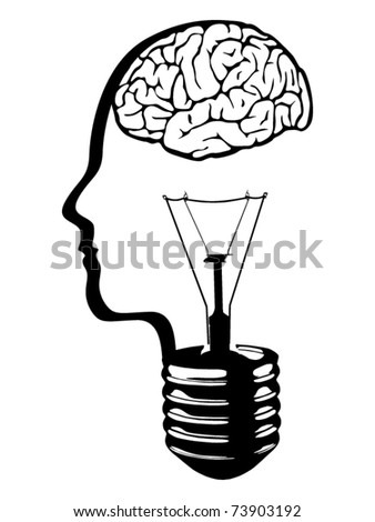 brain head lightbulb vector - stock vector