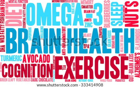 Brain Health word cloud on a white background.  - stock vector
