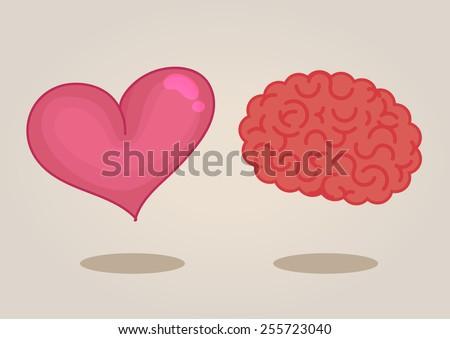 Brain & heart - stock vector