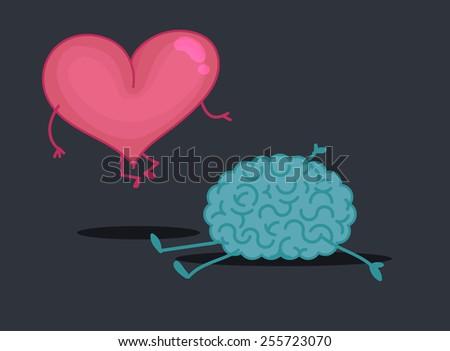 Brain & heart characters: Crime scene - stock vector