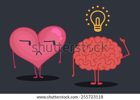 Brain & heart characters: Idea - stock vector