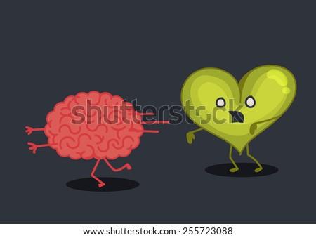 Brain & heart zombie characters - stock vector