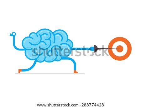 Brain hit the mark. Conceptual illustration of training your brain. - stock vector