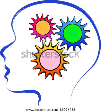 brain human color - stock vector