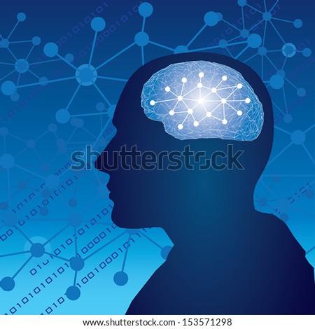 Brain Human thinking concept - stock vector