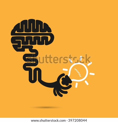Brain icon and light bulb symbol. Creative brainstorm and knowledge concept. Business and education idea, innovation and solution, creative design.Vector illustration - stock vector