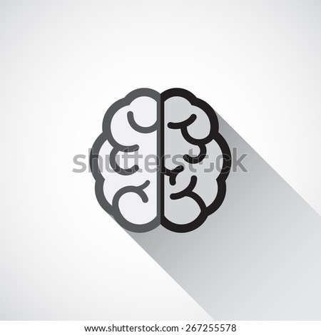 Brain icon in flat style - stock vector