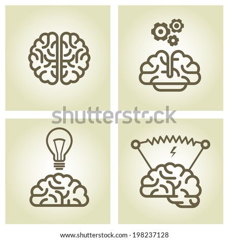 Brain icon - invention and inspiration symbols - stock vector