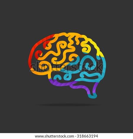 Brain Icon Isolated On Black Background. Vector illustration - stock vector