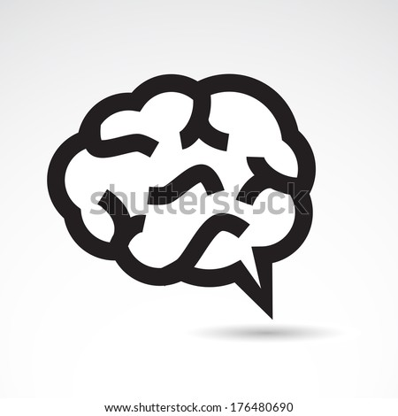 Brain icon isolated on white background. VECTOR illustration. - stock vector