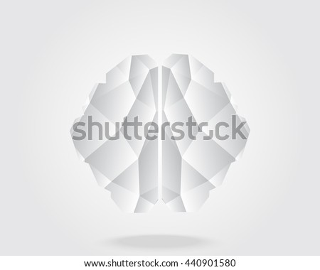 Brain icon,Low Poly graphic design vector of the anatomical shape of the brain. - stock vector