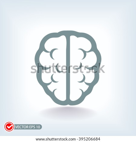 brain icon on a blue background. brain icon vector and jpg. Icon in a flat design. brain icon with shadow - stock vector