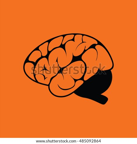 Brain icon. Orange background with black. Vector illustration.