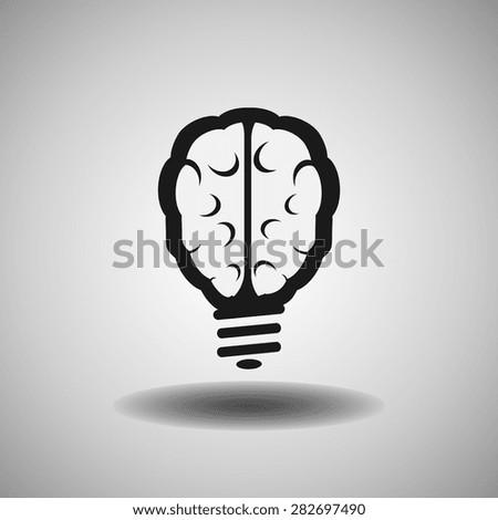 brain icon, vector illustration. Flat design style - stock vector