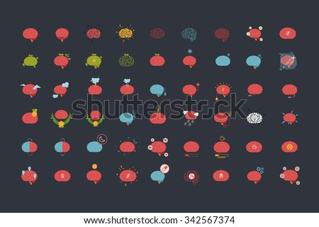 Brain icon vector set
