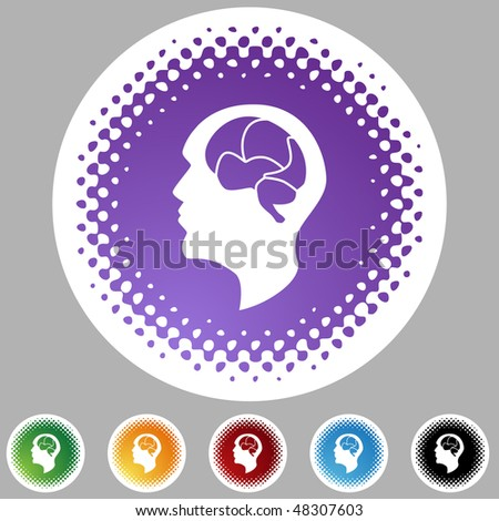 Brain icon web button isolated on a background. - stock vector