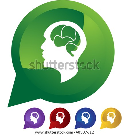 Brain icon web button isolated on a background.