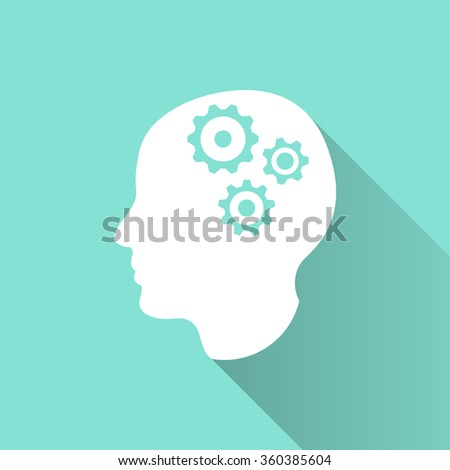 Brain  icon with long shadow, flat design. Vector illustration.