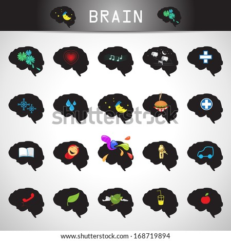 Brain Icons Set - Isolated On Gray Background - Vector Illustration, Graphic Design Editable For Your Design.    - stock vector