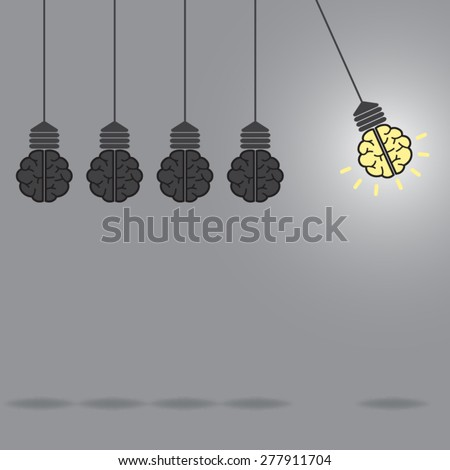 brain Idea and light bulb concept fly - stock vector