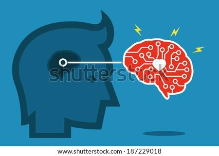brain idea flat design, vector - stock vector