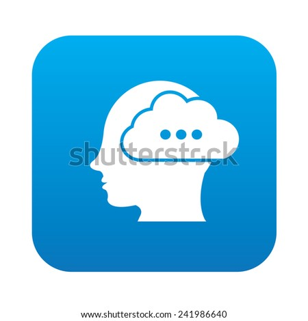 brain idea icon on blue button background,clean vector - stock vector