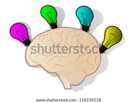Brain imagination - stock vector