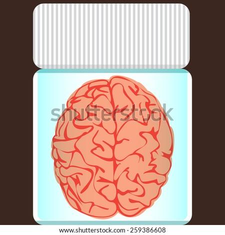 brain in a glass jar - stock vector