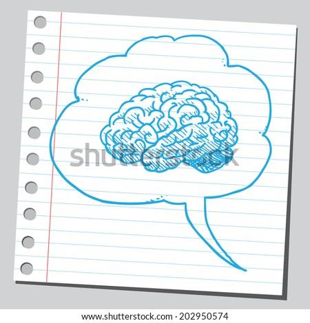 Brain in comic bubble - stock vector