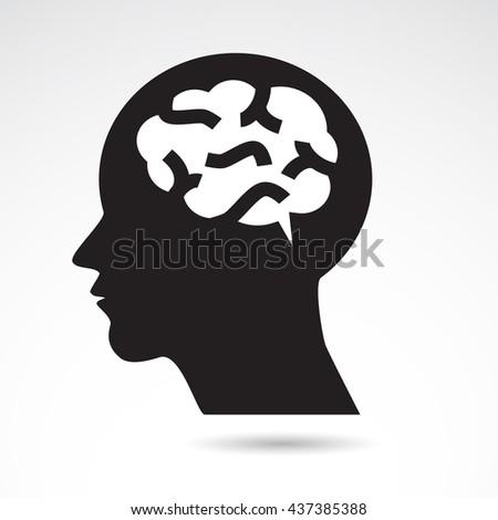 Brain in human head icon. Vector art. - stock vector
