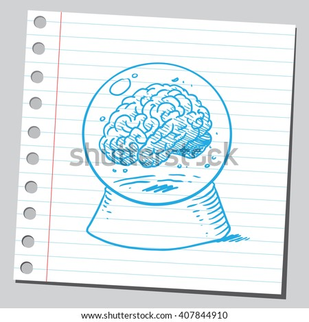 Brain in snow globe  - stock vector