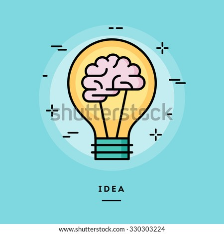 Brain in the light bulb as a metaphor for idea, line flat design banner, vector illustration  - stock vector