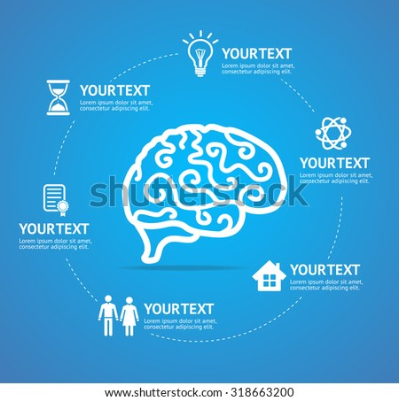 Brain Infographic Report Template with Data Icons and Elements. Vector illustration - stock vector