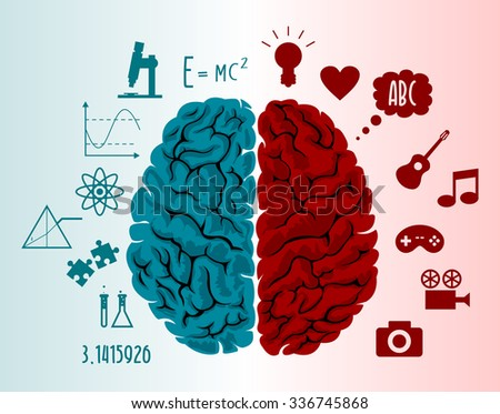 Brain infographics in two hemispheres with different thoughts - stock vector