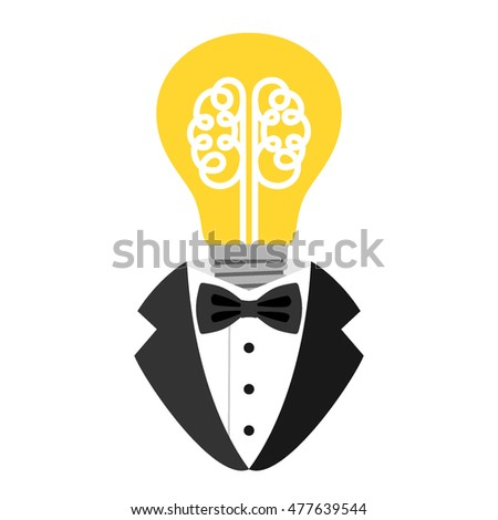 Brain inside a light bulb. Concept of the emergence of the idea