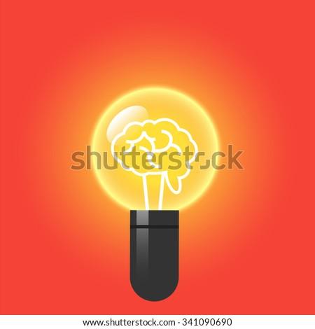Brain inside a light bulb. Flat design vector illustration. - stock vector