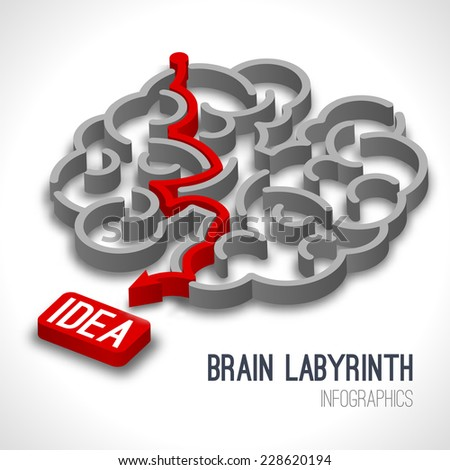 Brain labyrinth infographics set with red arrow thinking process leading to idea vector illustration - stock vector