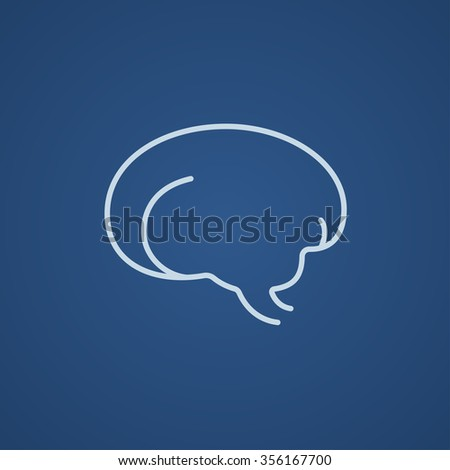 Brain line icon for web, mobile and infographics. Vector light blue icon isolated on blue background. - stock vector
