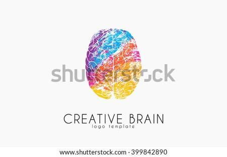 Brain logo. Color brain logo design. Creative brain. creative logo. - stock vector