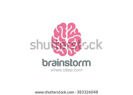 Brain Logo silhouette top view design vector template.  Brainstorm think idea Logotype concept icon. - stock vector