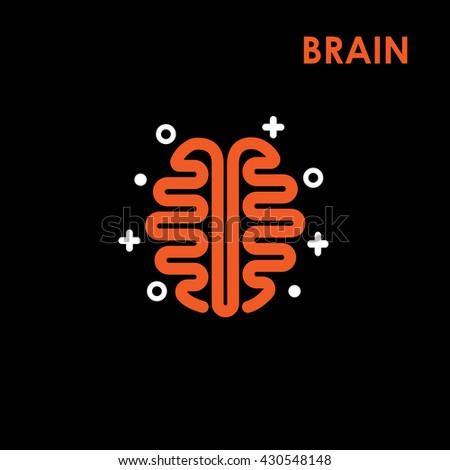Brain Logo silhouette top view design vector template. Brainstorm think idea Logotype concept.The best idea logo.Good idea logo.Brain icon.Think idea icon.Vector logo design template - stock vector